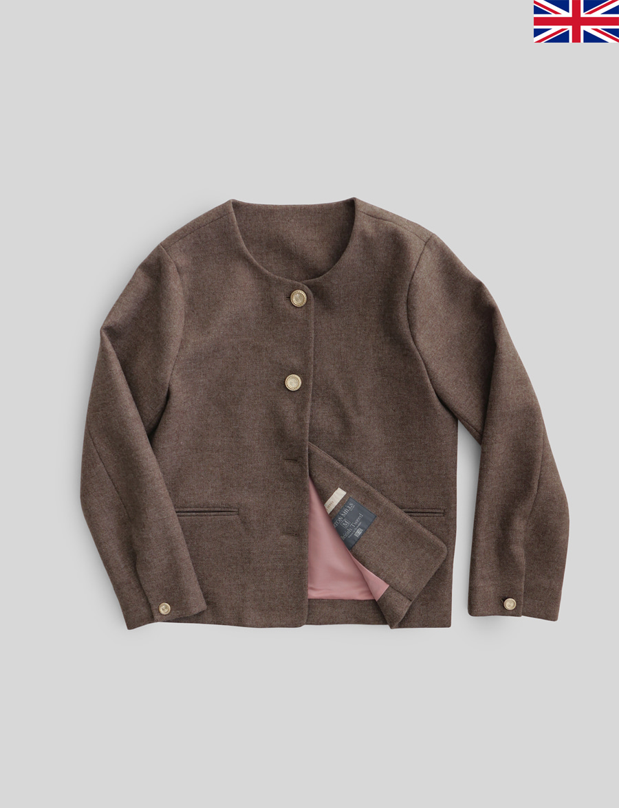 [19AW Pre-Order]Agnés Jacket by Marton Mills Tweed (Cocoa)